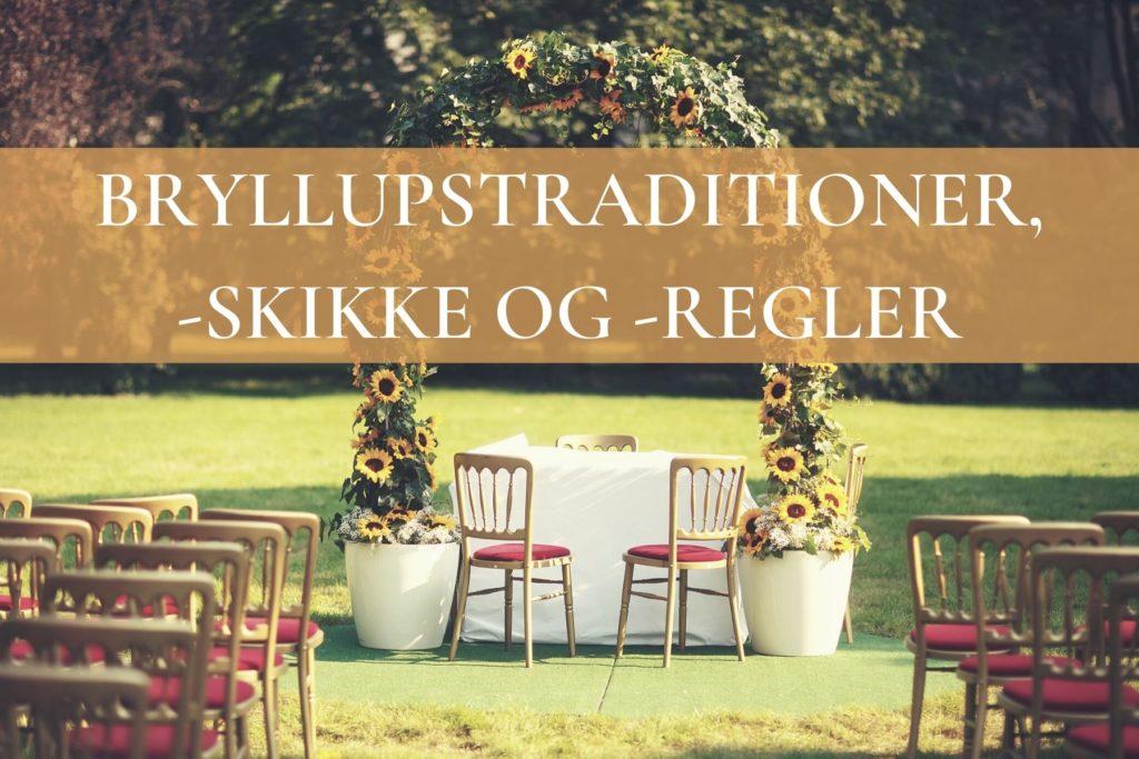 Banner til bryllupstraditioner med æresport og stole