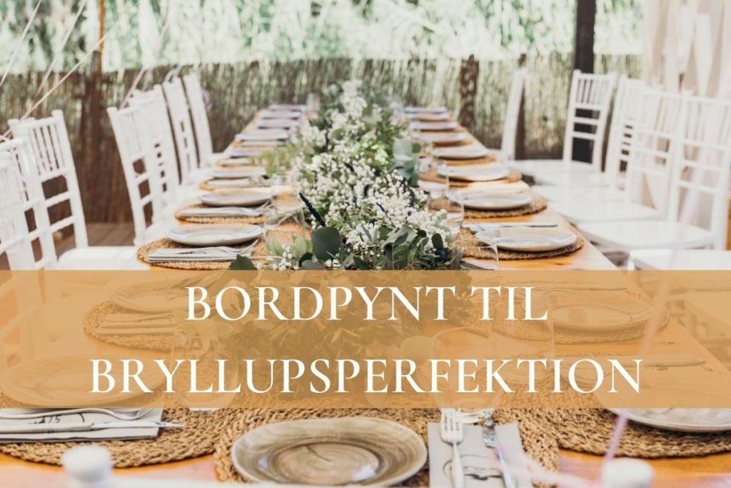Banner med bordpynt til bryllup