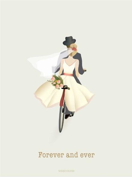 Bryllupskort fra Vissevasse.dk med brudepar på cykel