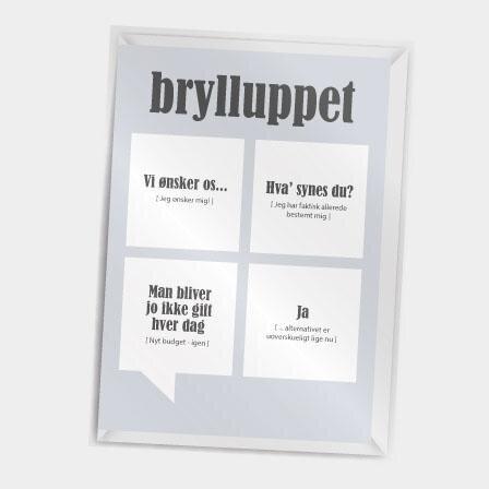 Sjovt bryllupskort fra Dialægt med citater