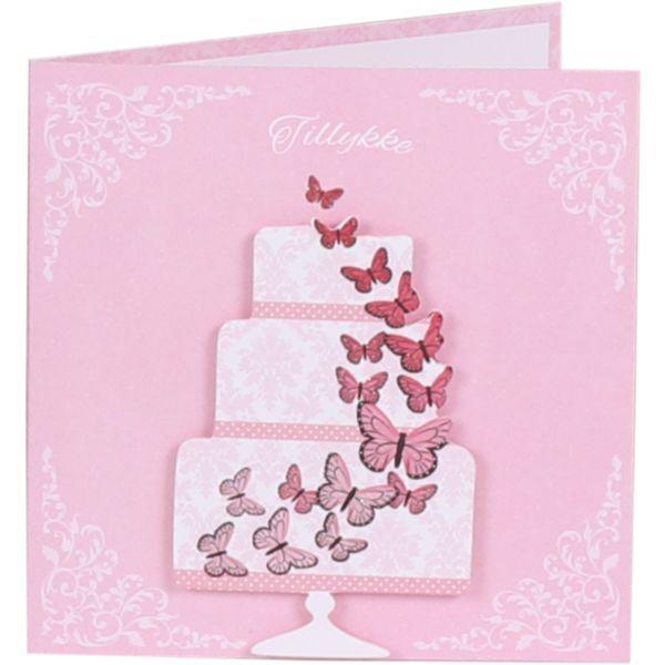 Lyserødt bryllupskort med sommerfugle fra Imerco